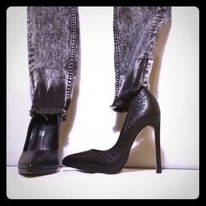 Aldo Kristina Black Leather Stiletto Heels 5